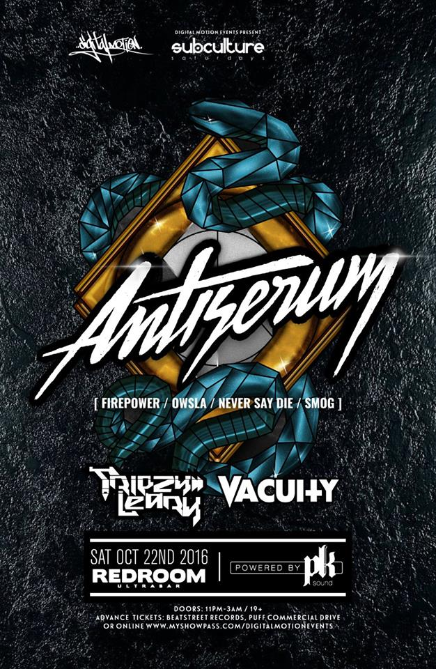 Event: Antiserum at SUBcultureSaturdays [Powered by PK SOUND] - Tickets |  Digital Motion